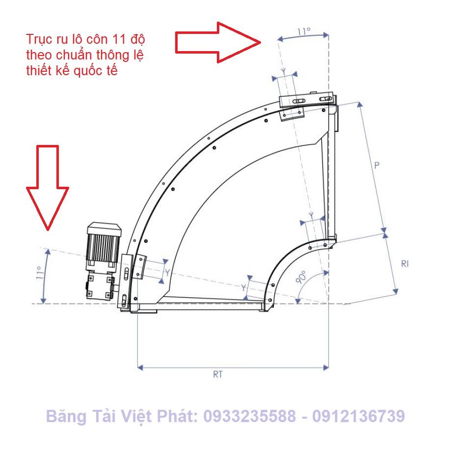 trục ru lô băng tải góc cong 11 độ