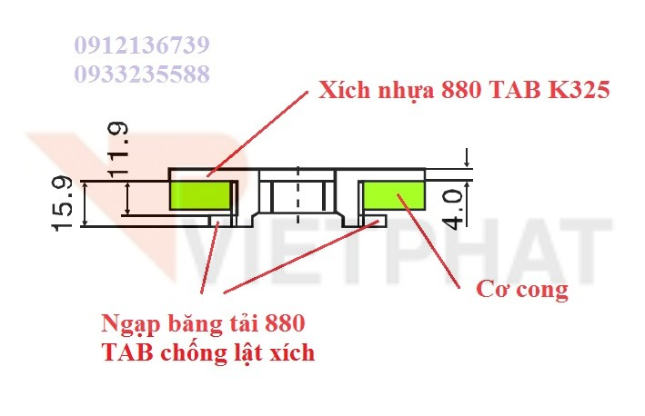 bang tai xich nhua 880 TAB K325