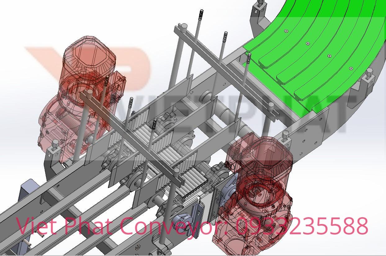 Cơ cấu chống đổ chai ngả chai trong thiết kế băng chuyền băng tải