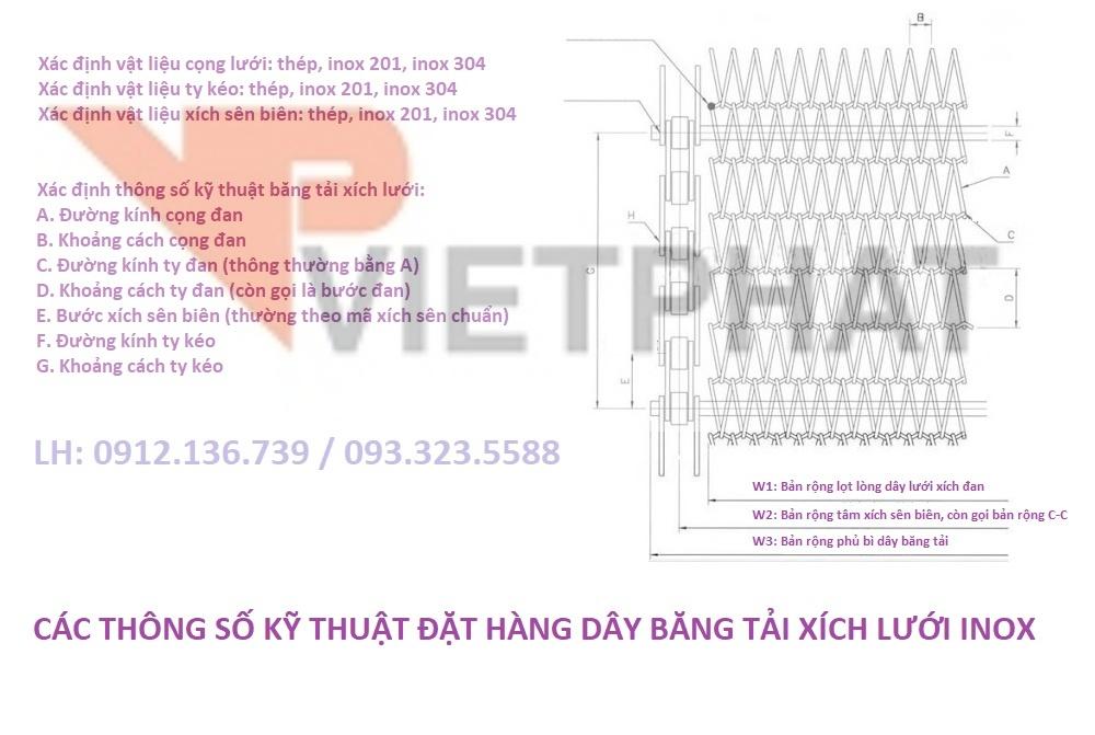hướng dẫn cách đặt hàng băng tải xích lưới
