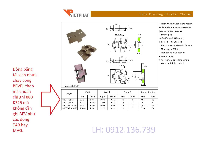 Dòng băng tải xích nhựa mã 880 K325 chính là dòng băng tải xích nhựa 880 BEV K325