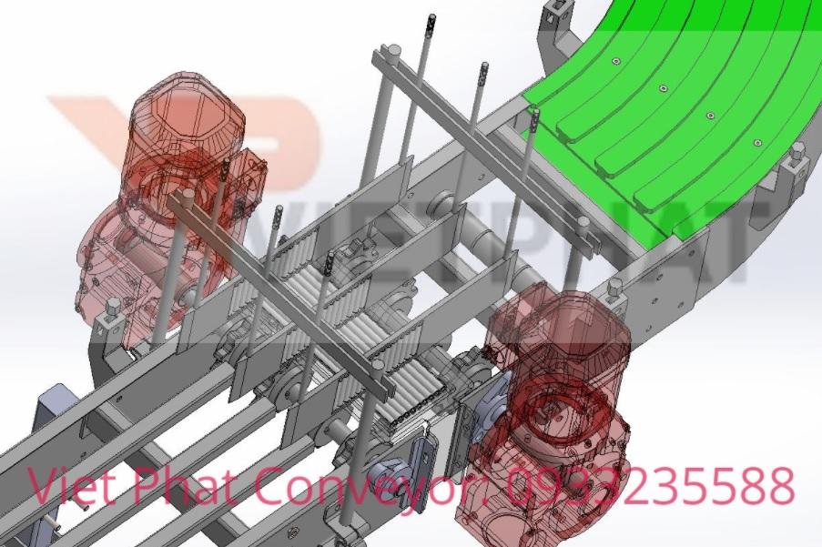 Cơ cấu chống đổ chai trong thiết kế băng tải