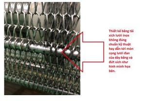 thiết kế sai kỹ thuật băng tải xích lưới