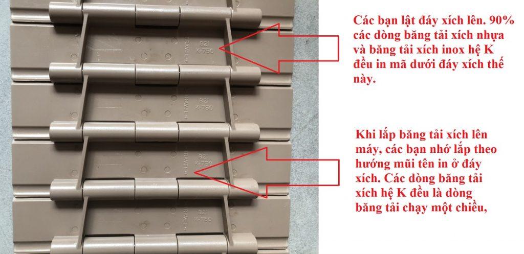 Kiểm tra mã hàng băng tải xích nhựa và inox