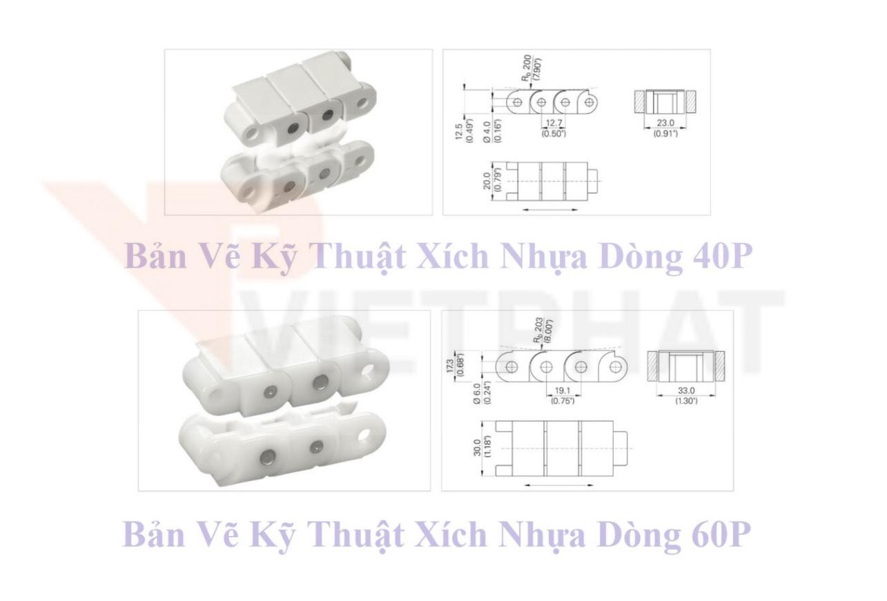 Bản vẽ kỹ thuật xích nhựa dòng 40P và 60P